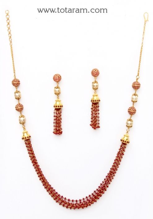 22K Gold Necklace & Earrings set with Rubies Totaram Jewelers