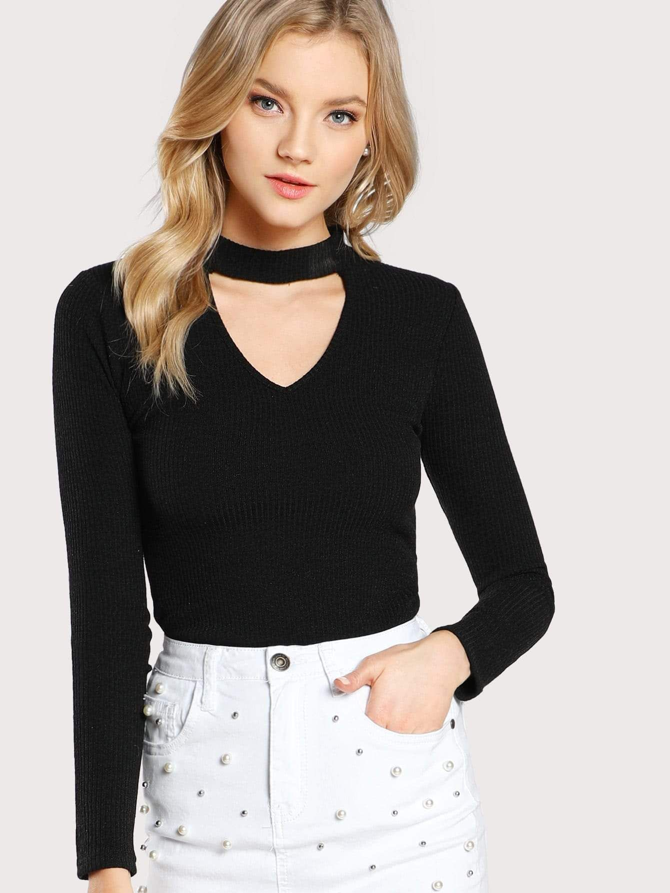 b9babb86c0 Choker Neck Rib Knit T-shirt | fashion in 2019 | Neck choker, Shirts ...