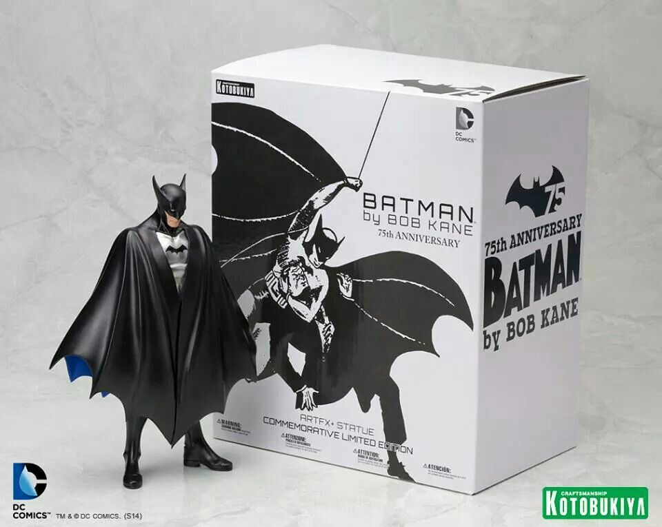 """Batman by Bob Kane. To commemorate the 75th anniversary, Kotobukiya has created an extremely Limited Edition ARTFX+ of the """"Bat-Man"""" statue as he first appeared in Detective Comics issue #27. Sculpted by Atelier Bamboo."""