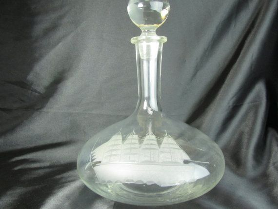 Mid Century Decanter Genie Bottle Decanter Tall Ship
