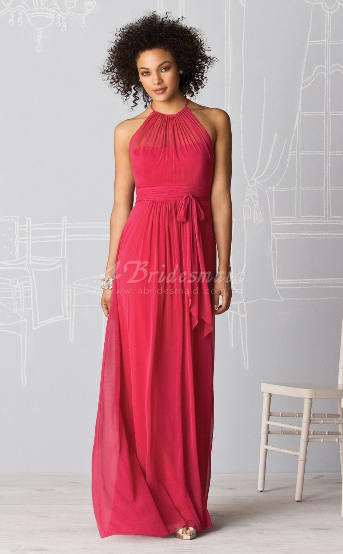Sheathcolumn halter velvet chiffon floorlength red bridesmaid
