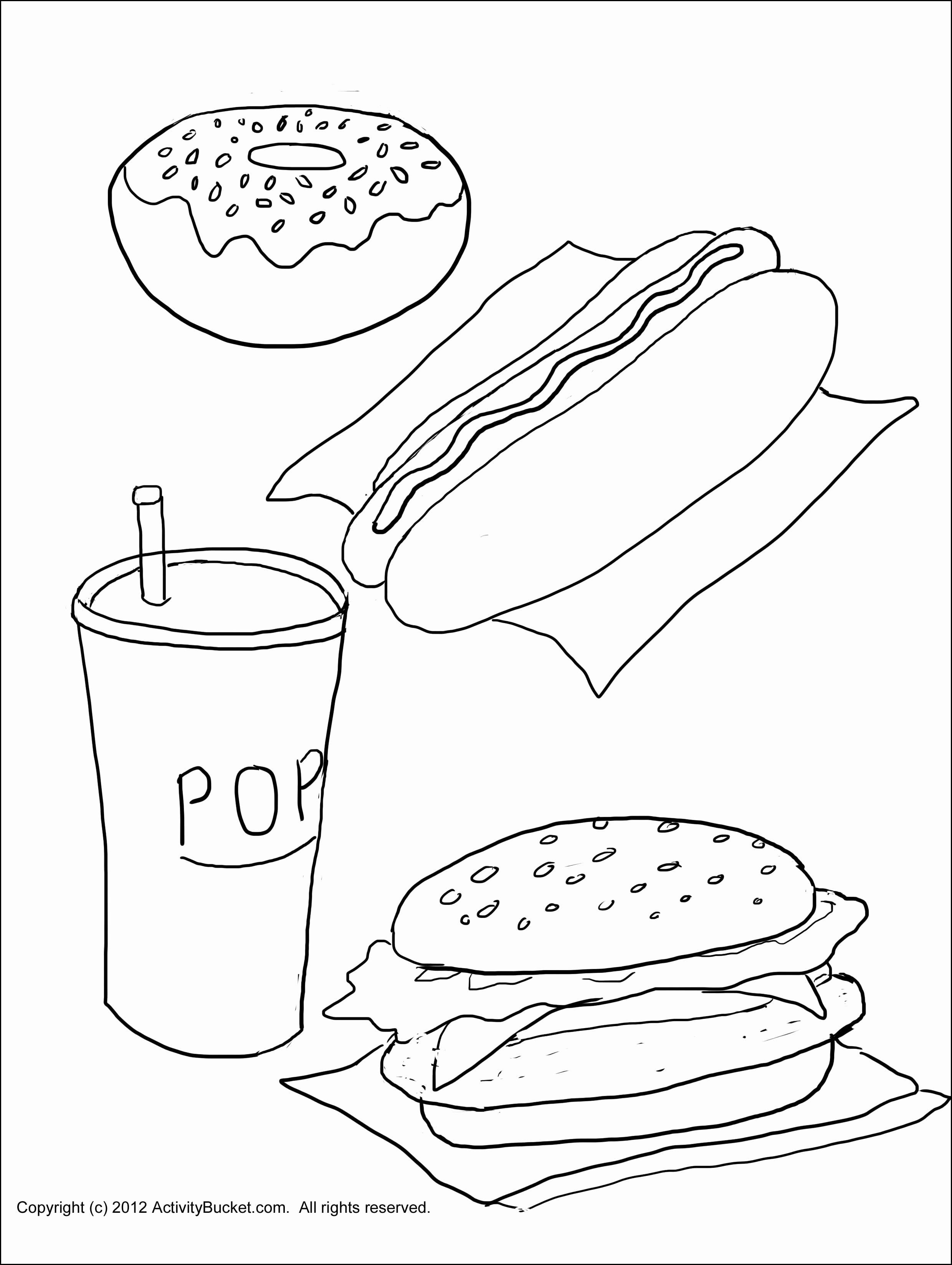 Picnic Food Coloring Pages Beautiful Junk Food Coloring