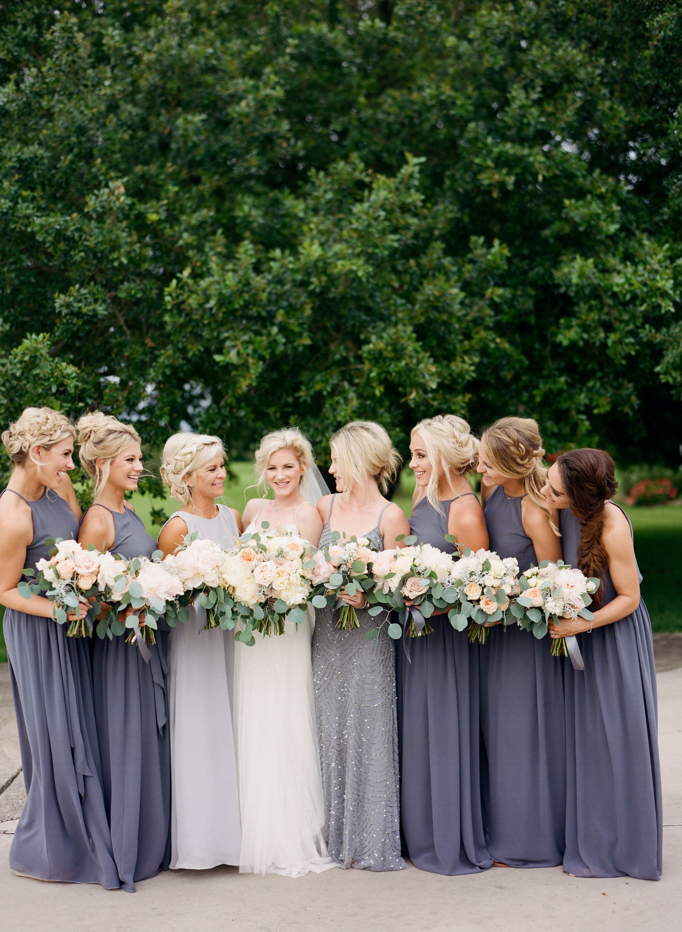 Rainy day charcoal and cream backyard garden wedding in texas charcoal bridesmaid dresses ombrellifo Gallery