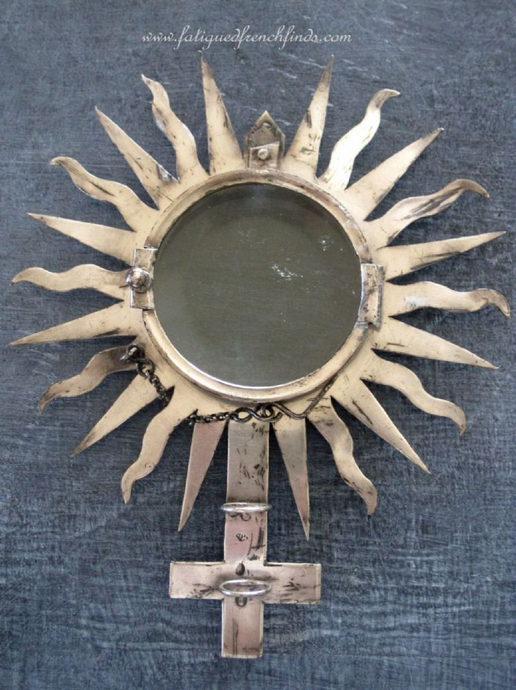 Antique French Sterling Silver Monstrance Ostensory Shrine Hallmarked 1798 to 1809 www.fatiguedfrenchfinds.com
