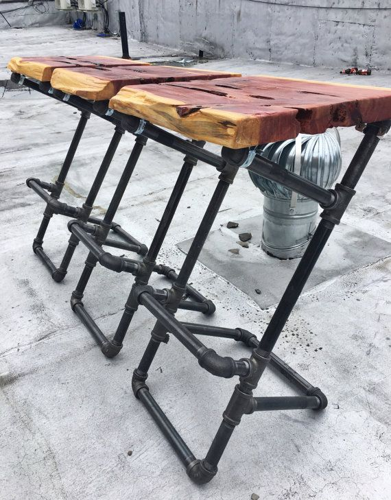 Iron Pipe Barstools With Live Edge Wood Seats By