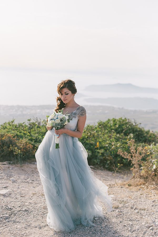 Exceptional Intimate Dusty Blue Wedding In Santorini   Love4Wed