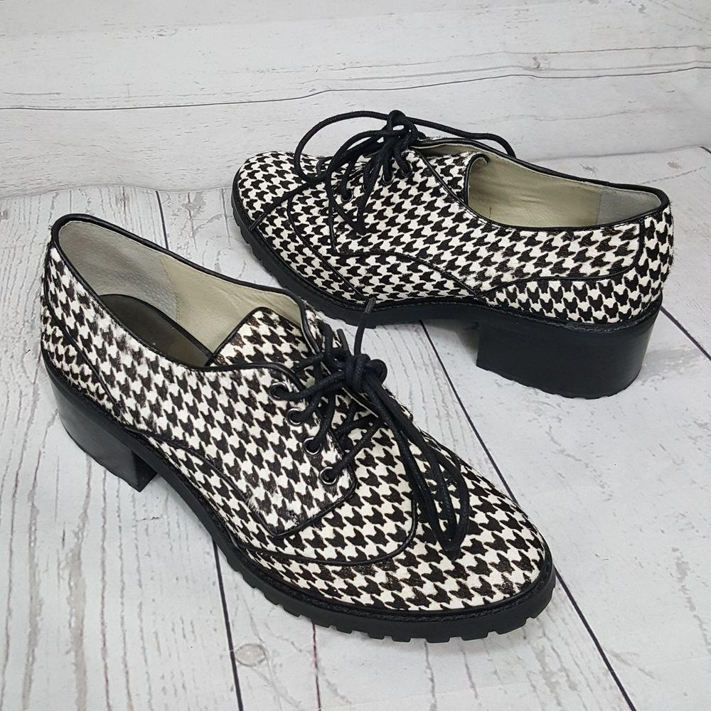 06a140918d0792 Michael KORS EDISON Lace Up Calf Hair Black White Houndstooth Oxfords  Womens 8.5  MichaelKors  Oxfords  Casual