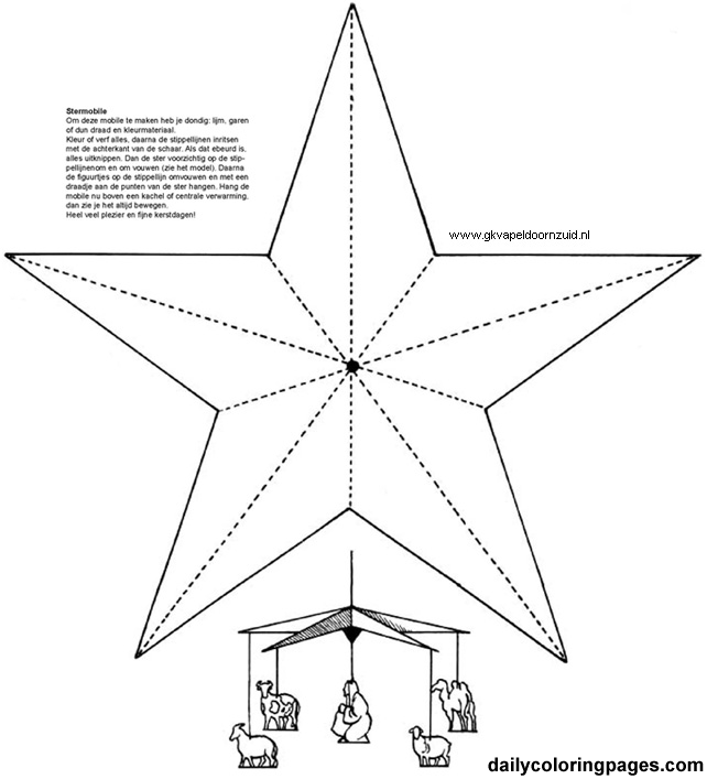 Star Mobile Christmas Coloring Pages 01