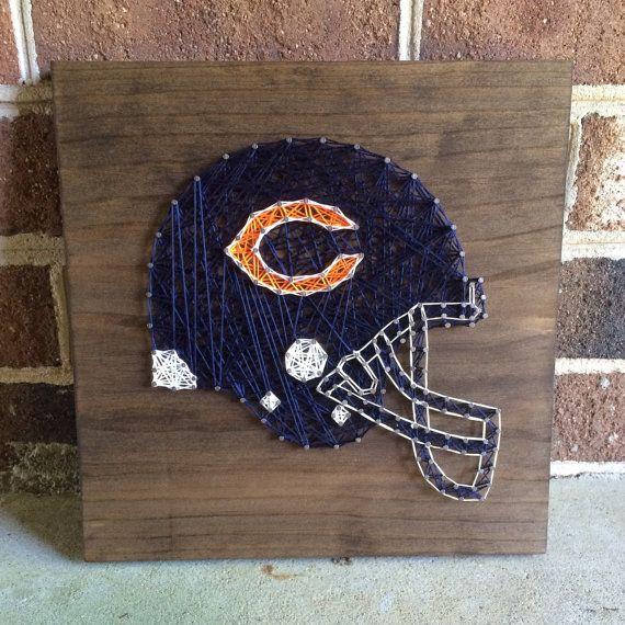 Chicago Bears Home Decor: Chicago Bears Sports Team Helmet String Art Wood Sign Man
