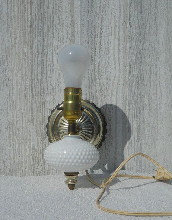 Shabby Chic Wall Sconce Light Electric Brass Lantern White Milk Glass Hobnail Hanging Lamp Electric Lighting Switch Light Fixture Wall Sconce Lighting Wall Sconces Brass Lantern