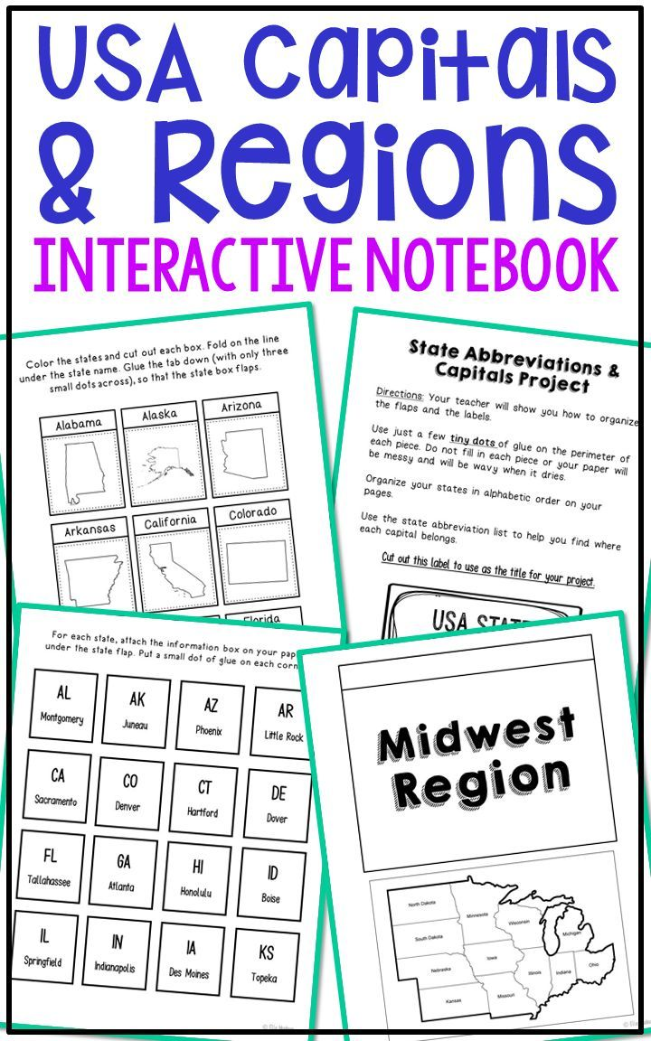 STATE CAPITALS Activity | Interactive Notebook/Lapbook ...