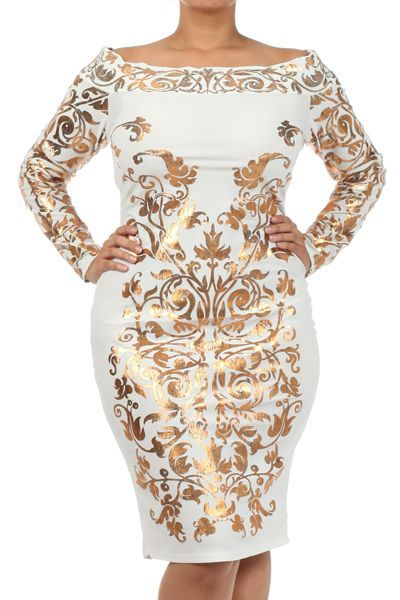 metallic white and gold plus size dresses | ... -dresses ...