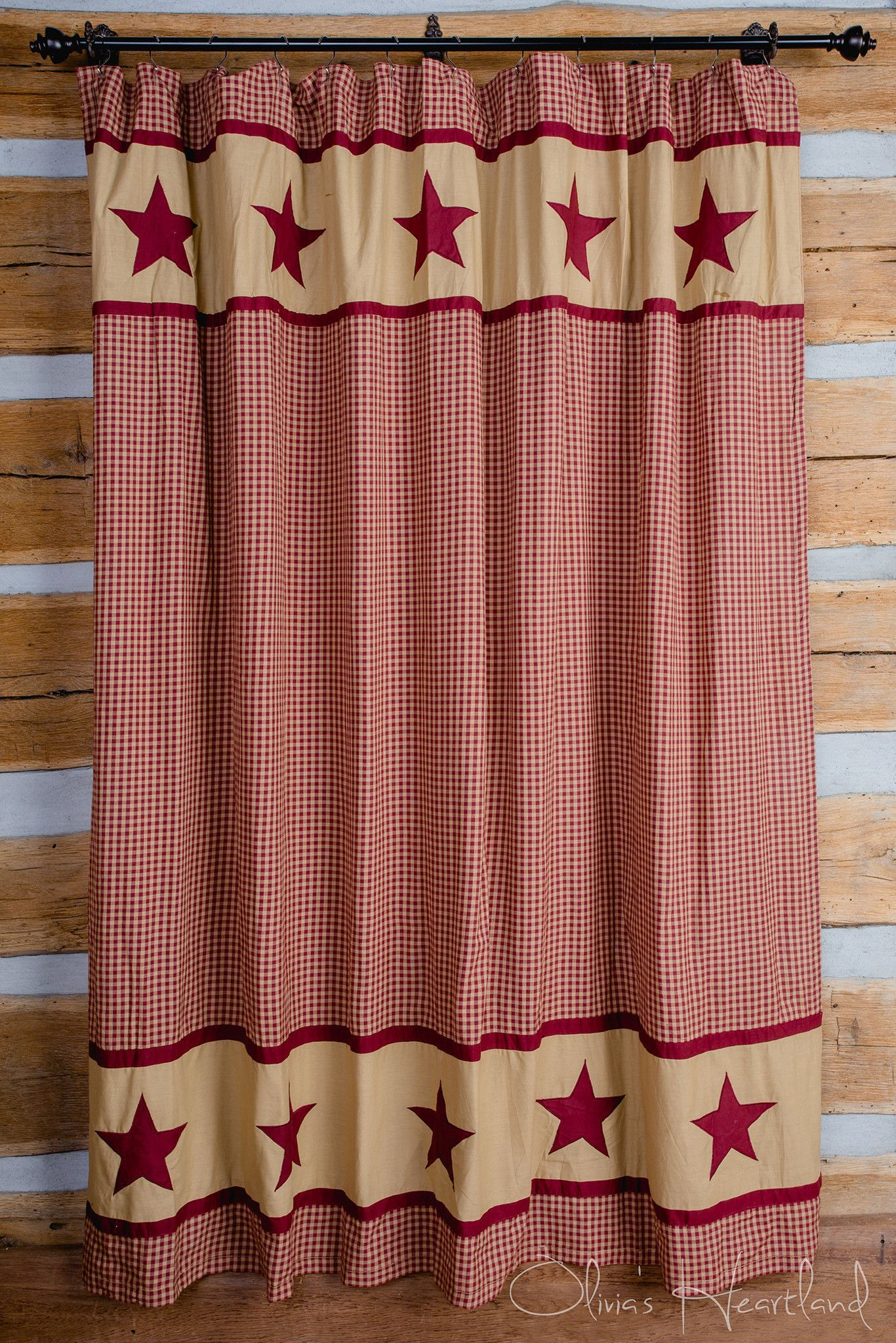 """Black Country Star Check Cotton Cottage Bath Shower Curtain 72/"""" x 72/"""""""