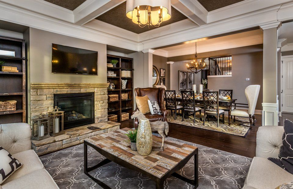 Transitional Living Room with Crown molding Built in