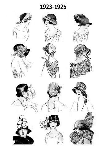 Sketches of some of the hats worn around 1923-1925