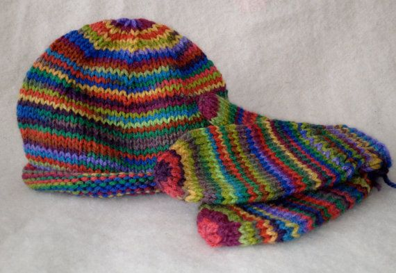hand knit hat and mittens by toniandteds on Etsy, $10.00