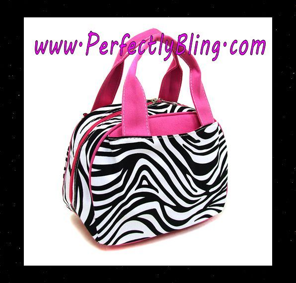 ZEBRA PATTERN LUNCH BAG -  HOT PINK