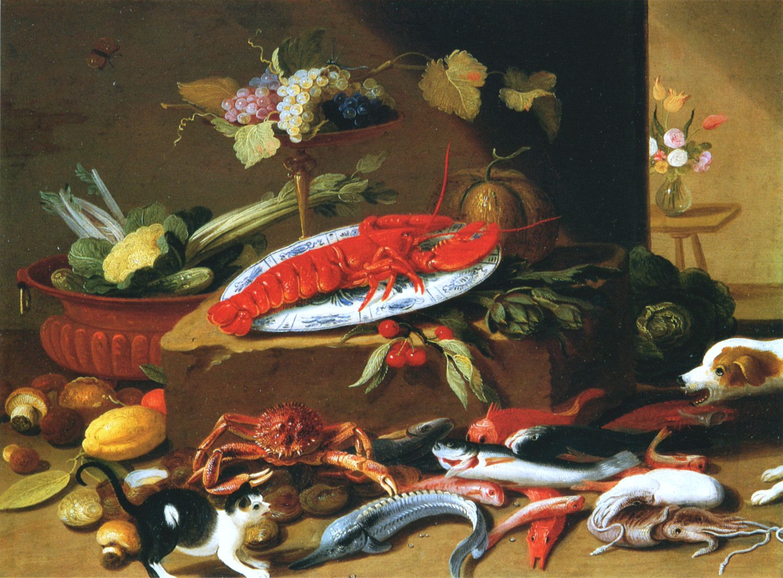 Still Life with Dog and Cat in Front of a Lobster, Jan van Kessel ...