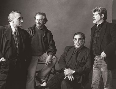 Hollywood Directors by Annie Leibovitz  1996    Martin Scorsese, Steven Spielberg, Francis Ford Coppola and George Lucas    Skywalker Ranch, California