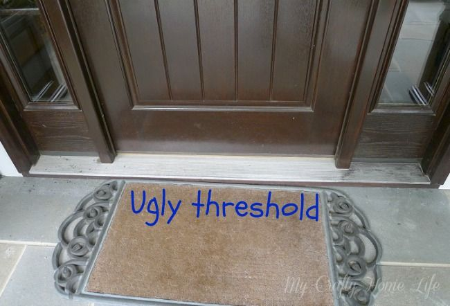 Paint the ugly threshold blogger home projects we love pinterest porch curb appeal and doors for Gap under exterior door threshold