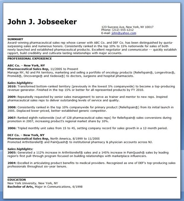 Pharmaceutical Sales Representative Resume Samples Creative - resume for sales representative