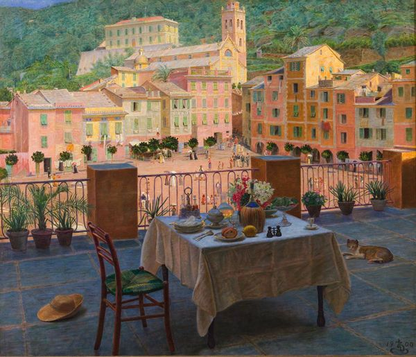 Zahrtmann: Mit frokostbord i Portofino, 1900