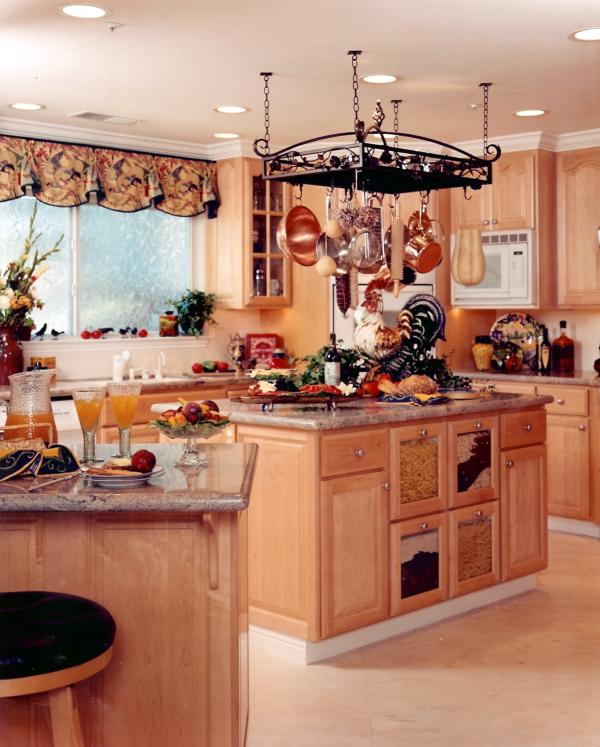 Dream Kitchen Designs With Islands: Kitchen Pot Rack Over Island, Country Maple Kitchen