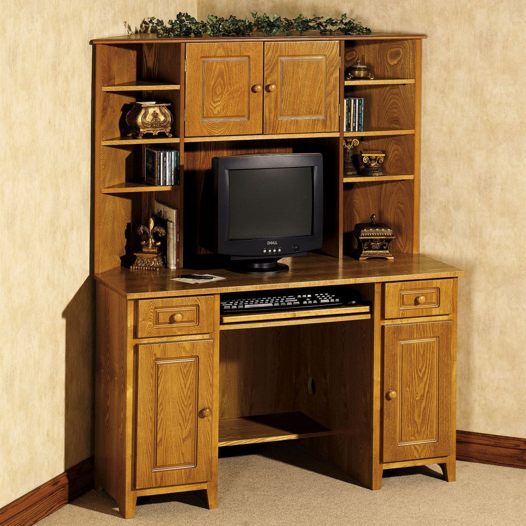 Oak Small Corner Desk With Hutch For E All Storage Bed