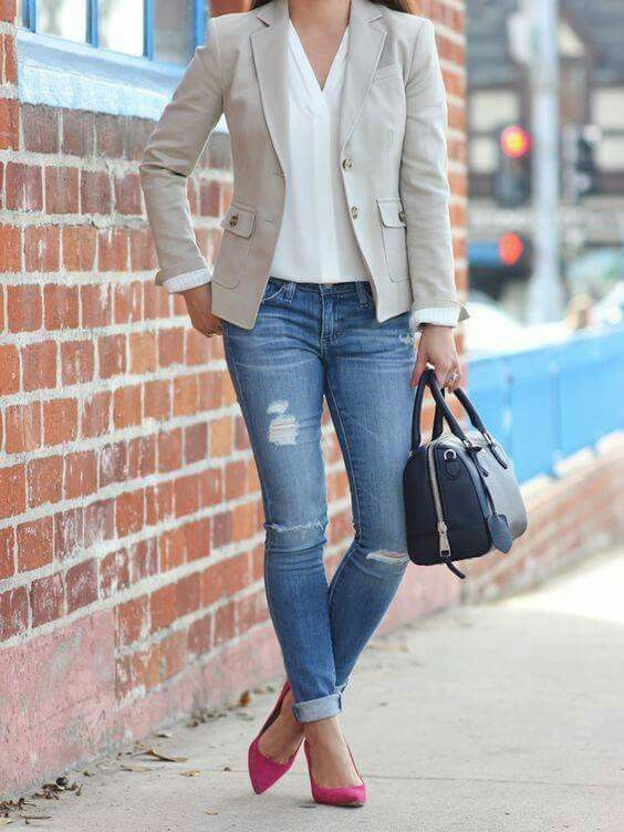 7d384e0107aa Casual Work Outfit Summer, Jeans Outfit For Work, Spring Outfits 2017 Work,  Casual