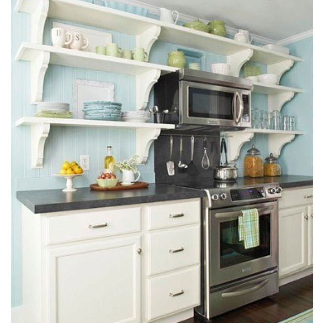 Little Kitchen With Shelves For Extra Storage Of Pretty