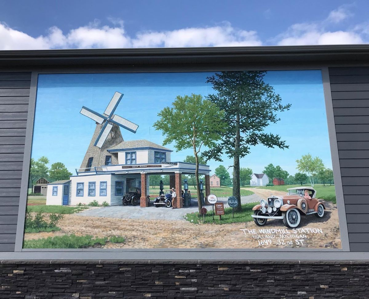 Windmill Gas Station Mural 32nd Street Holland Michigan House Styles Gas Station