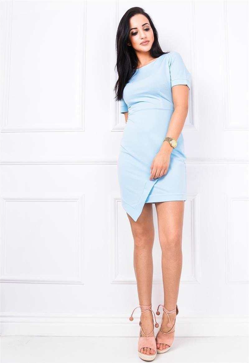 d45be12456 Asymetryczna sukienka z zakładką