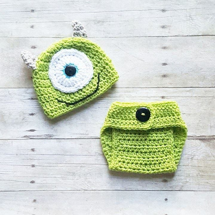 Crochet Baby Monsters Inc Mike Sulley Option Hat Beanie Diaper Cover ...