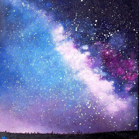 Tableau galaxie, voie lactée, peinture galaxie à acrylique