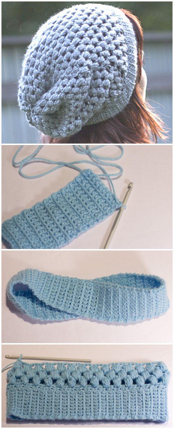 Puff Stitch Slouchy Beanie Pattern | Beanie hats | Pinterest ...