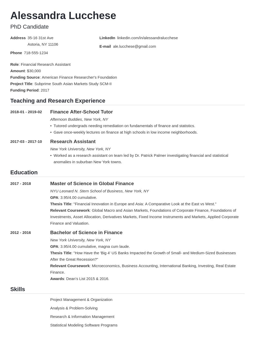 Medium Length Graduate CV/Resume Template Curriculum