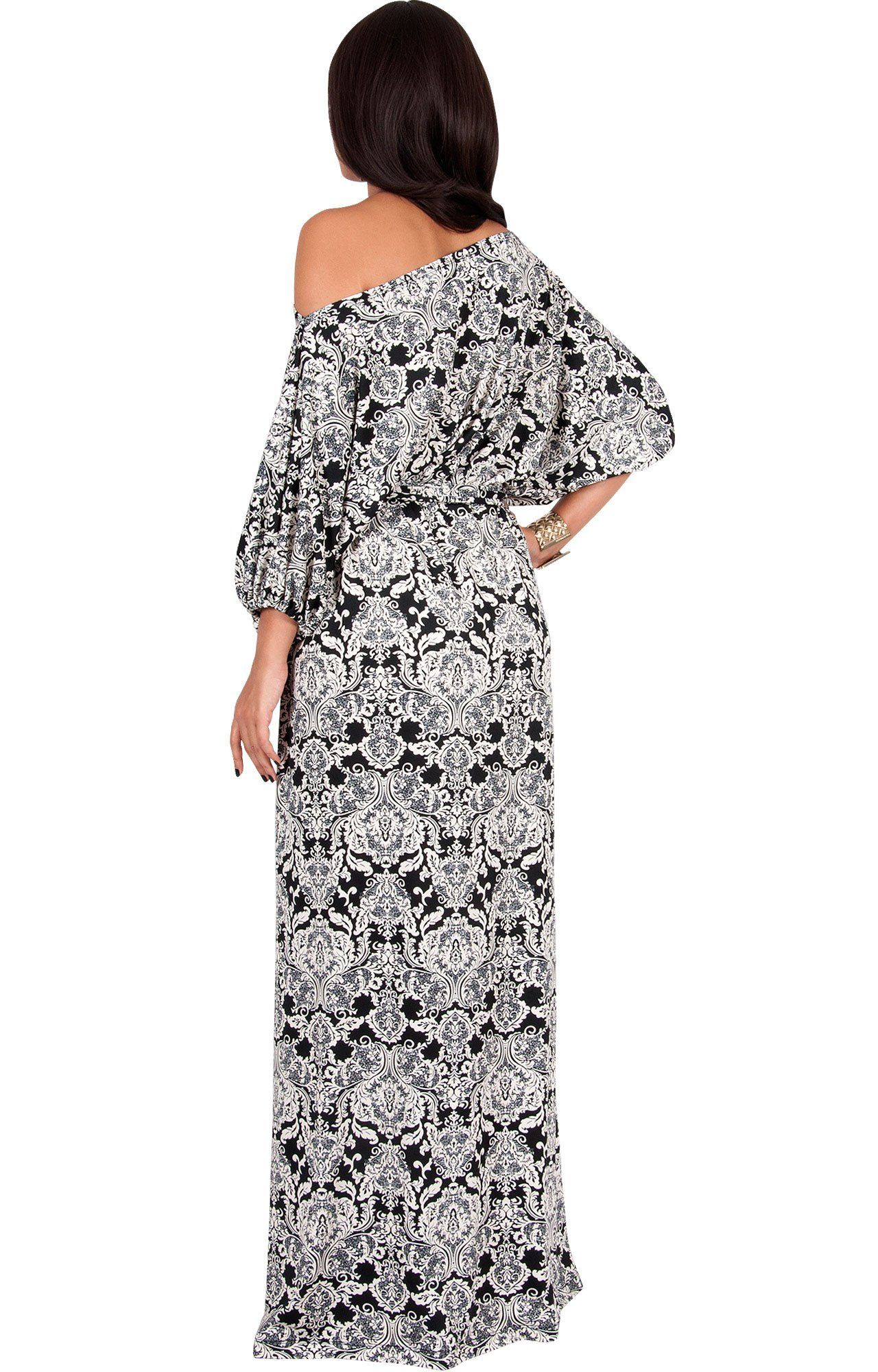 Koh koh women long sexy one off shoulder print casual flowy