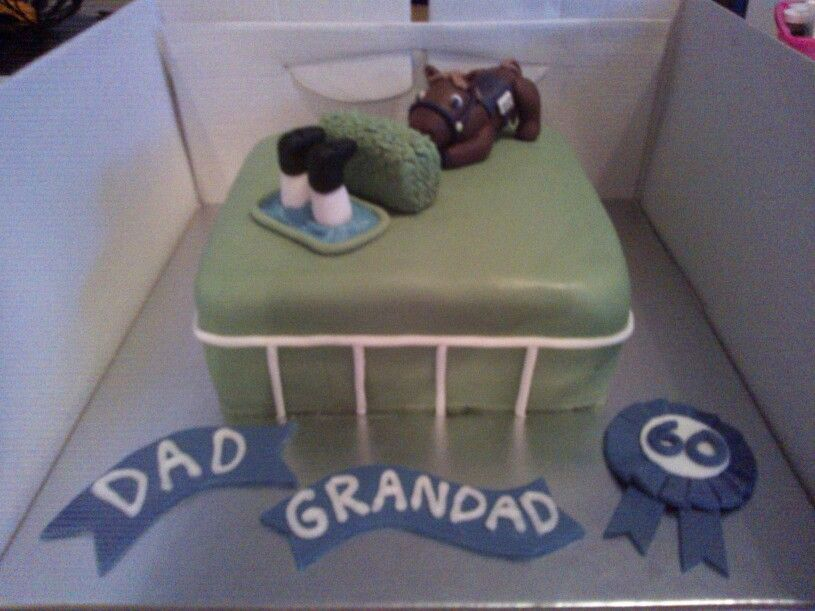 Horse racing birthday cake for dad's 60th with thrown jockey
