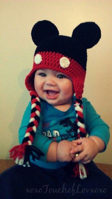 Gorro de mickey con trenzas | Touca de Croche infantil | Pinterest