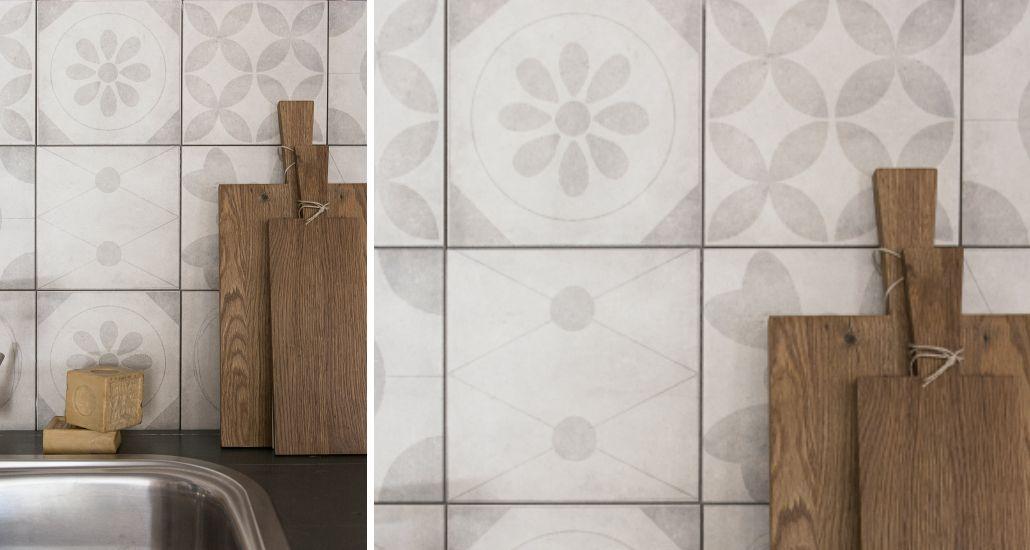 Achterwand Keuken Tegels : Foto spatwand een originele achterwand in de keuken