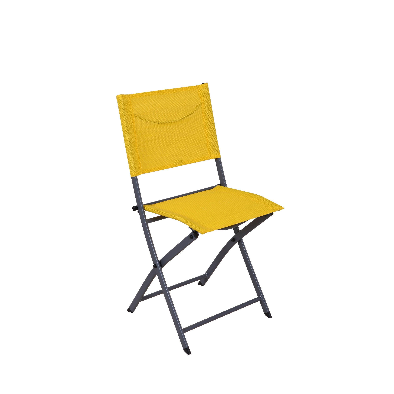 Chaise De Jardin En Acier Emys Origami Jaune Naterial Chaise De