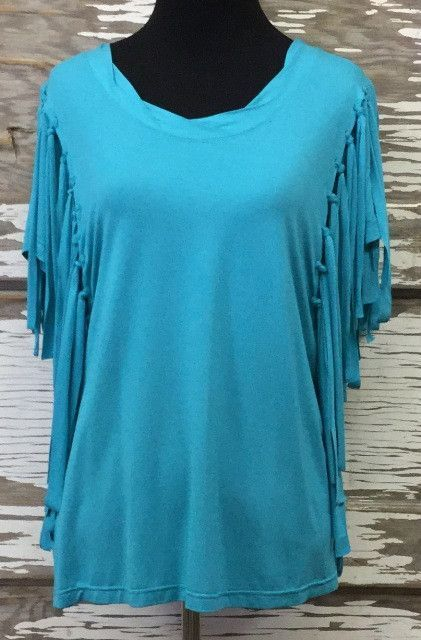 Turquoise Fringed Top