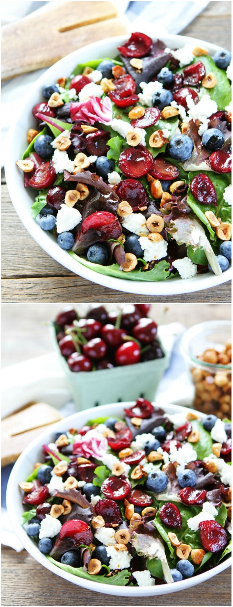 Balsamic Grilled Cherry, Blueberry, Goat Cheese, and Candied Hazelnut Salad on Mixed salad greens…