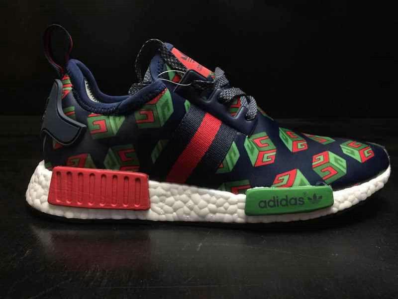 803147d2a Genuine Men Gucci X Adidas NMD R1 Deep Blue Green Red BA7258 2018 Spring  Summer Sale