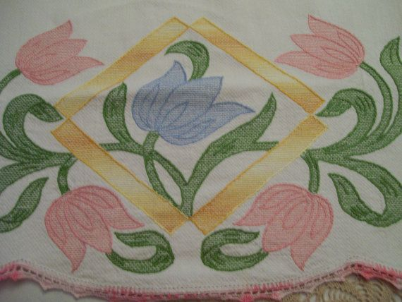Vintage Decorative Towel Applied Tulips with by FabVintageEstates