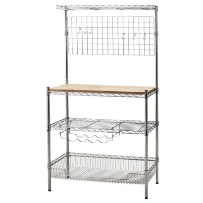 Chrome Baker S Rack With Wood Block Top Room Essentials