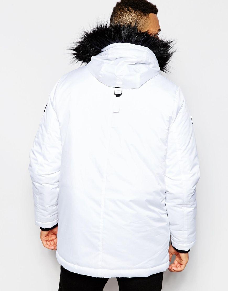 2fc3f484645e D-struct Coulton Faux Fur Trimmed Parka Jacket in White for Men ...