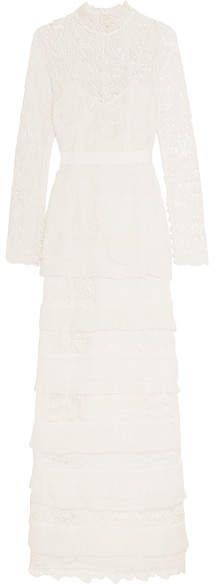 05fd5e1fcfcdf Self-Portrait - Primrose Crepon-trimmed Guipure Lace Gown - White ...