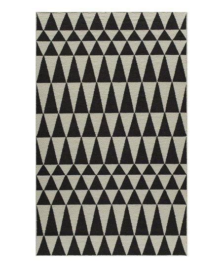 Kilim Rug John Lewis: Black & White Triangle Flatweave Wool-Blend Rug