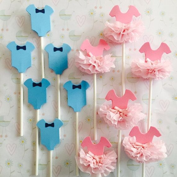 Tutus Bow Ties Gender Reveal Boy Or Girl Pink Or Blue Cupcake